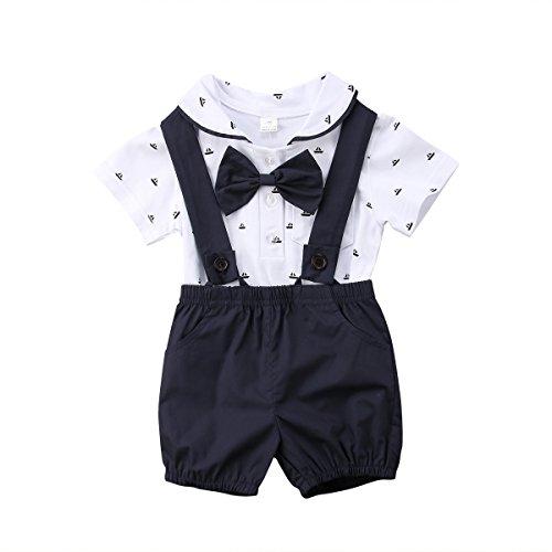 Geagodelia 2tlg Baby Jungen Bekleidungsset Strampler Weste Krawatte Anzug Gentleman Festliche Taufe Shirt + Hose mit Hosenträger Outfits Set