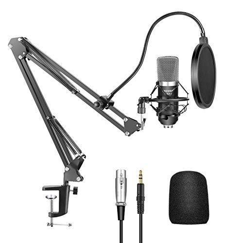 Neewer NW-700 Professional Studio Broadcasting Recording Condenser Microphone & NW-35 Adjustable Recording Microphone Suspension Scissor Arm Stand with Shock Mount and Mounting Clamp Kit