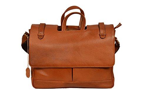 ZINT Men's Pure Leather TAN Laptop Bag Messenger Bag/Portfolio Bag/Gift for HIM