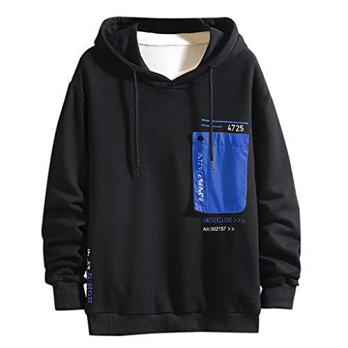 HHyyq Hoodie Pullover Herren Winte Sweater Long Sleeves Bequeme Klassisch Tops Regular Fit Outwear Blouse Patchwork Kleidung Bluse Tunnelzug T-Shirt Rundhalsausschnitt Sweatershirt Mantel