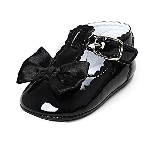 Scarpe per Bambina - Neonata - Colore Nero - Lucide - Fiocco - Taglia 18 EU - Idea Regalo Natale e Compleanno - 0-6 Mesi