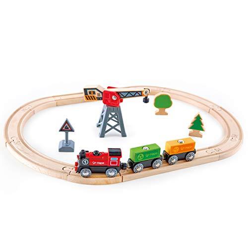 Hape - E3731 - Jouet en Bois - Circuit de Train - Circuit de Train de Marchandises