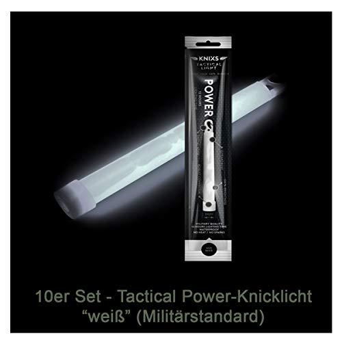 """10er Set - Power-Knicklicht/Leuchtstab Tactical Light im Militär-Standard - weiß leuchtend (6\"""" / 15cm) - einzeln verpackt - mindestens 12 Stunden Leuchtdauer"""