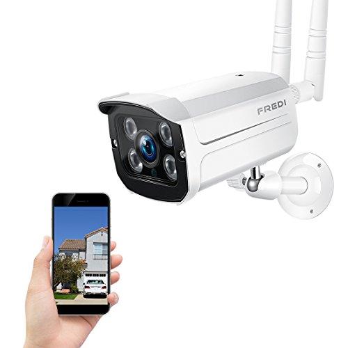 FREDI 720P-IP66 Resistente al Agua Cámara de vigilancia inalámbrica/Cámara de Seguridad inalámbrica/Compatible con Tarjeta SD 128G (No Incluido) apoyado Visión Nocturna