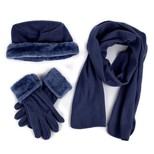 Cloche Fur Trim 3 Piece Fleece Hat, Scarf & Glove Women's Winter Set (Navy)