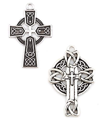 JGFinds Celtic Cross Antiqued Silver Tone Charm Set 2, 20 Pack (10 of Each)