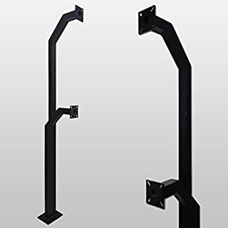 Gooseneck Stand Keypad Pedestal Pad Mount Aluminum mounting post gate entry Double Height (Color Black)