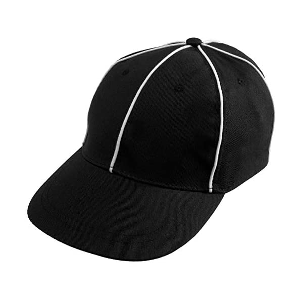 Crown Sporting Goods Official Referee Hat – Adjustable Black with White Stripes...