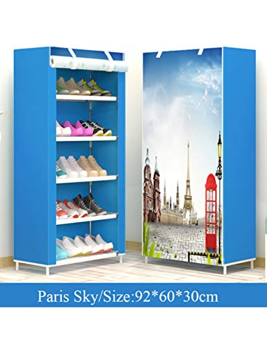 XIEJIA Zapatero Estante para Zapatos A Prueba De Polvo De Múltiples Capas Pasillo De Fácil Instalación Organizador De Zapatos Estante Soporte para Almacenamiento De Sala De Estar, Paris Sky, 5L