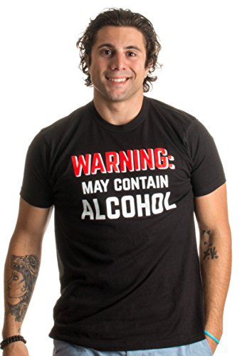 Warning: May Contain Alcohol | Funny Beer Concert Party Bar Humor Unisex T-Shirt-(Adult,XL) Black
