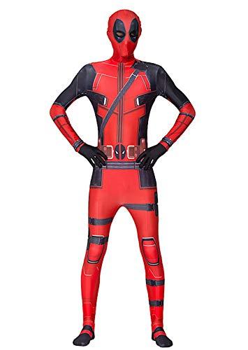 VersusModa - Chndal de piel sinttica para disfraz de animacin de carnaval, para hombre, Cosplay DPOOL01 rojo 120 cm