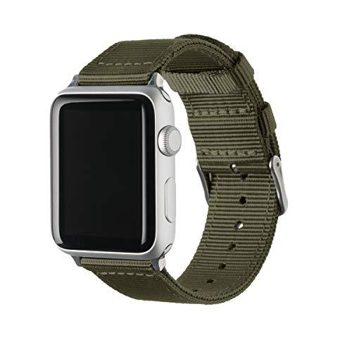 Archer Watch Straps | Repuesto de Correa de Reloj de Nailon para Apple Watch, Hombre y Mujer | Verde Oliva/Acero Inoxidable, 42/44mm