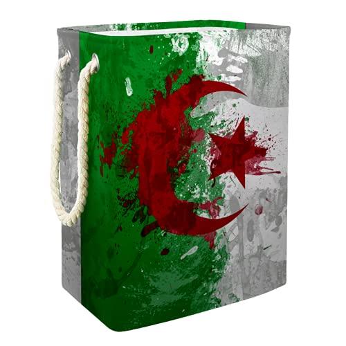EZIOLY Wäschekorb Algerien Flagge Hintergr& Faltbarer Wäschekorb mit Handgriffen Abnehmbare Klammern Gut Haltend Wasserdicht für Kleidung Spielzeug Organisation in Waschküche Schlafzimmer