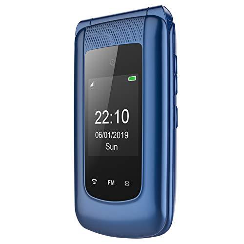 Teléfono Móvil para Personas Mayores Teclas Grandes con Tapa Pantalla de 2,4 Pulgadas,SOS Botones,ácil de Usar telefonos basicos para Mayores (Azul)