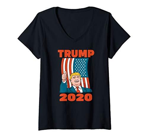 Damen TRUMP 2020 American Flag Vote Wahl Vintage T-Shirt mit V-Ausschnitt