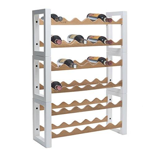 Saudagi Porte-bouteilles en bois pour réfrigérateur 36 places (blanc)