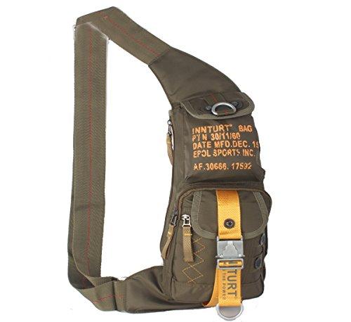 INNTURT Nylon Sling Bag Daypack Chest Bag Messenger Backpack Outdoor (Army Green & Yellow)