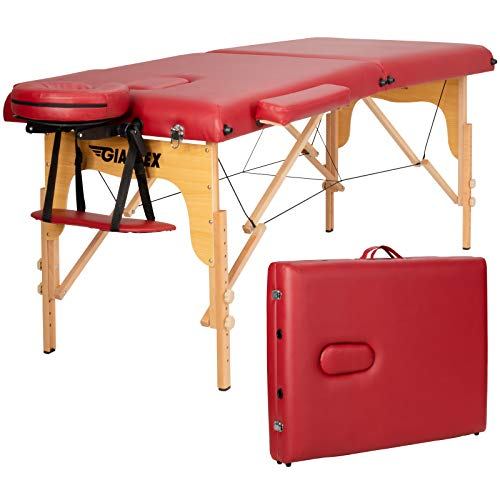 Giantex 84inch Massage Table Massage Spa Bed, Portable Massage Bed with Adjustable Height & Headrest, Professional Portable Facial Salon Tattoo Spa Bed with Face Cradle and Armrest (Red)