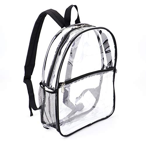 Small Kids Mini Clear Backpack Stadium Approved Water-proof PVC BookBag for Boys and Girls for School,Swimming,Concert,Sport (12' S,Black)