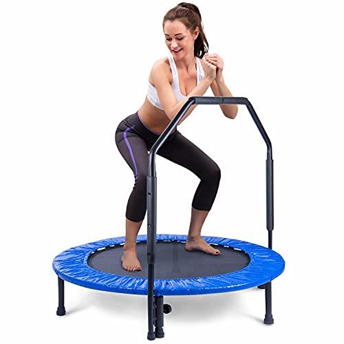 Body & Mind® Fitness-Trampolin, Ø 100 cm, Sprungmatte & mit Haltegriff, inkl. Randabdeckung, Nutzergewicht bis 100 KG , Trampolin für Indoor Jumping Fitness (Fitnesstrampolin)