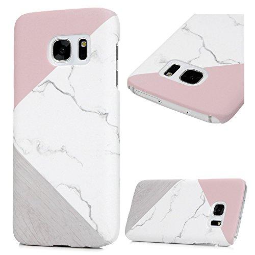 KASOS Coque S7 Marbre Housse Etui Phone Case Protection de Téléphone PC Plastique Ultra Housse Bumper Cover pour Samsung Galaxy S7-Coutures Gris Poudre
