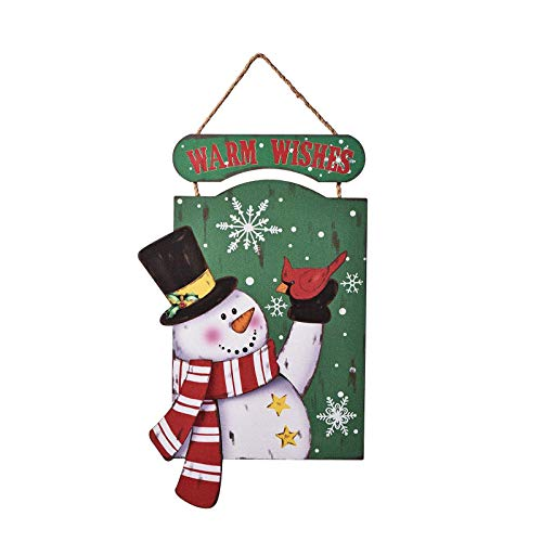 LPLED Snowman Wood Sign Christmas Holiday Decoration for Door Wall Fireplace Indoor Outdoor, Warm Wishes Christmas Sign Happy New Year, Winter Decorative Wall Art (Wishes)