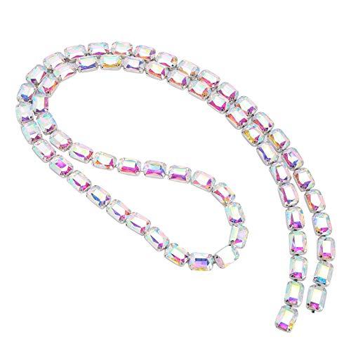 Adorno de diamantes de imitación de 1 yarda, cadena de diamantes de imitación de cristal para hacer joyas de bricolaje, manualidades, ropa, zapatos, bolsos, dijes(Vistoso)