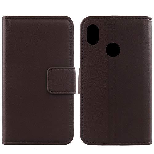 Gukas Design Echt Leder Tasche Für BQ Aquaris C Hülle Lederhülle Handyhülle Handy Flip Brieftasche mit Kartenfächer Schutz Protektiv Genuine Premium Hülle Cover Etui Skin (Dark Braun)