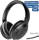 Avantree Aria Bluetooth Active Noise Cancelling Headphones with Boom Mic for PC Computer