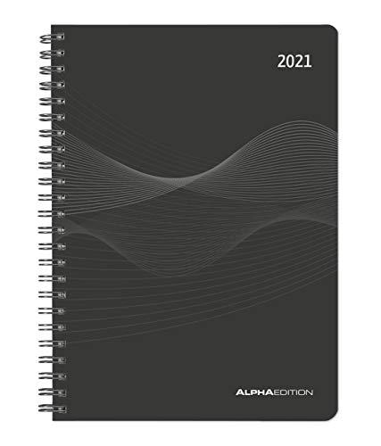 Wochenplaner PP-Einband schwarz 2021 - Büro-Kalender A5 - Cheftimer - Ringbindung - 1 Woche 2 Seiten - 128 Seiten - Alpha Edition