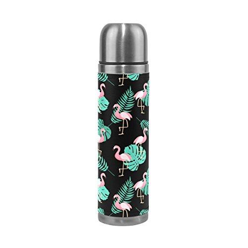 Ffy Go Travel Mug, Flamingo Feuille tropicale Motif personnalisé Thermos en acier inoxydable LeakProof Thermos isotherme extérieur Cuir pour filles garçons 500 ml