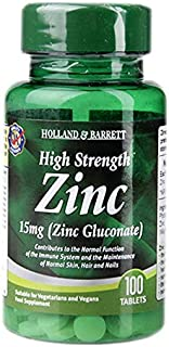 Holland & Barrett High Strength Zinc Tablets, 15mg, 100 count