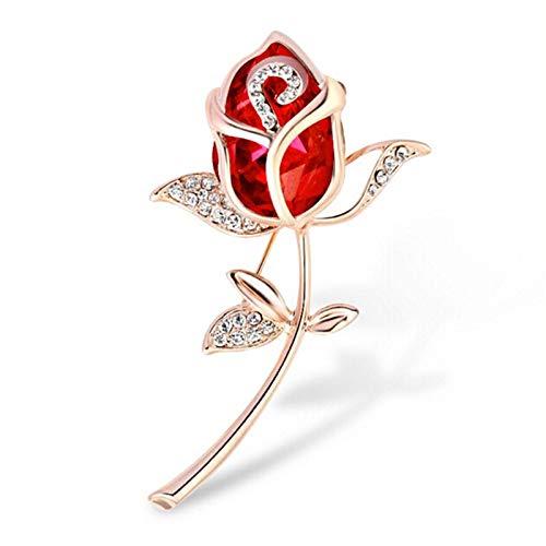 HUIJUNWENTI Crystal Rose roja del Rhinestone Broche Ropa Accesorios de Boda Linda Mujeres (Metal Color : Rojo)