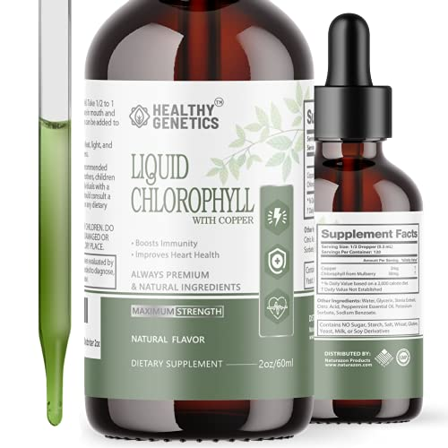 Liquid Chlorophyll Drops - Chlorophyll Liquid Organic from Mulberry Leaves w/ Copper - 4X Absorption vs Chlorophyll Capsules- Heart, Digestive, Immune System Health - Natural Internal Deodorizer 2oz