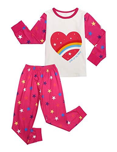 Bricnat Mädchen Schlafanzug Nettes Regenbogen Baumwolle Kinder Langarm Pyjama Sweatanzüge für Baby-Mädchen Schlafanzug Slim Fit Lang Zweiteiliger Schlafanzug 120