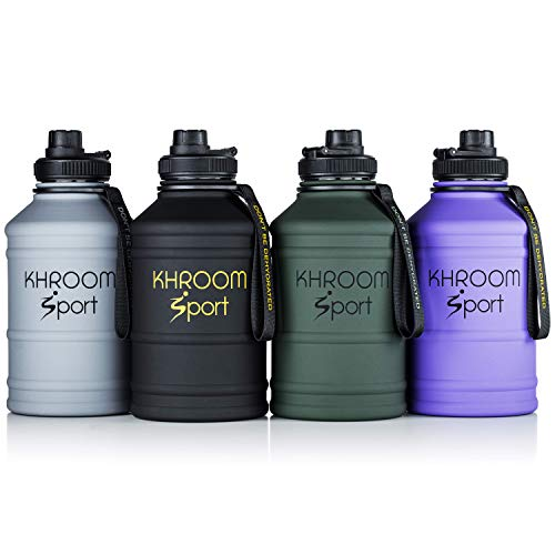 Khroom® 2.2 Liter Trinkflasche aus Edelstahl | Kohlensäure geeignet | BPA & DEHP frei | 2L Fitness Flasche für Sport, Gym & Freizeit (Schwarz Matt)