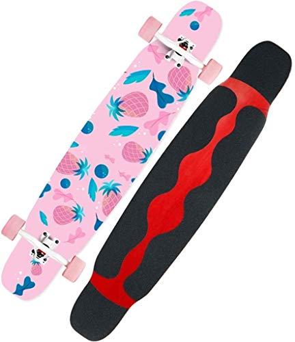 GUYUE Skateboards Drop Durch Skateboard, 46-Zoll-Longboard, Camber Concave Cruising Tanzen Deck komplett 8 Schichten Ahorn Freestyle Cruiser for Teens, Anfänger, Mädchen, Jungen, Farbe: C (Color : D)