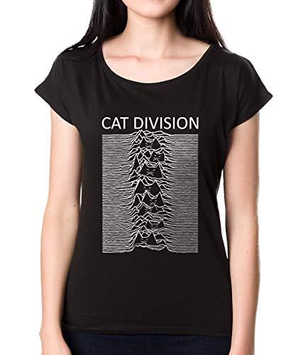 LOOMBI Cat Division Funny Vrouwen T-Shirt Gift Cat Ventilator 100% Katoen Wit Zwart