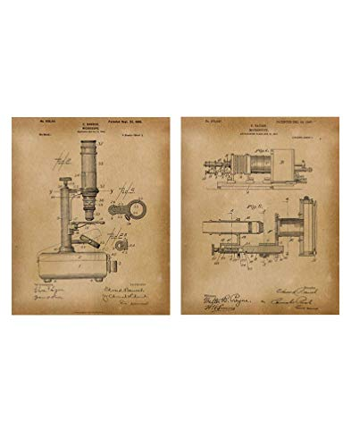 Microscope Patent Wall Art Decor, Set of 2 Vintage Prints, Ideal for Classroom Home or Office, Great Gift For Scientist or Medical Student, 11 inch x 14 inch By H+CO Inspired