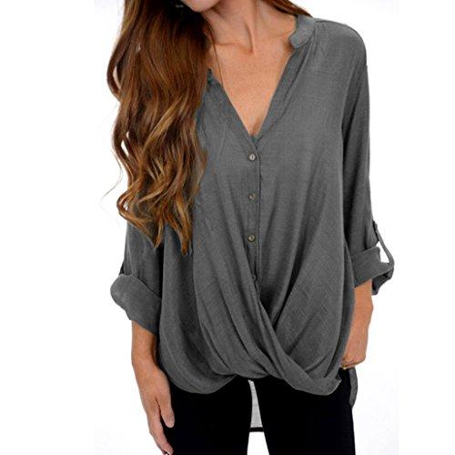 ESAILQ Damen Lässige Blumen Splice-Streifen Druck Rundhalsausschnitt Pullover Bluse Tops T-Shirt(L,Grau)