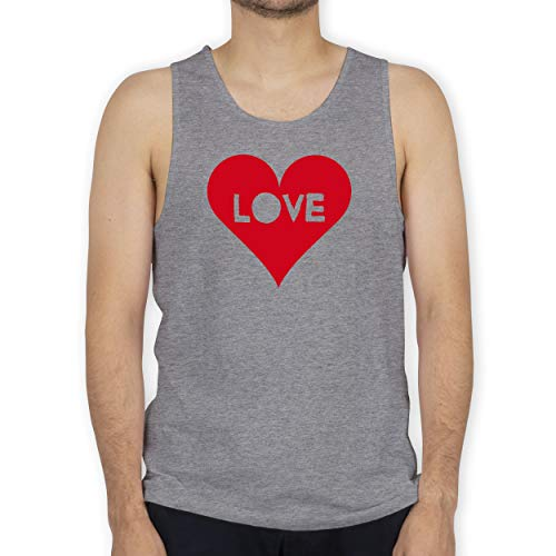 Shirtracer I Love - Herz - Love - M - Grau meliert - Tank Top - BCTM072 - Tanktop Herren und Tank-Top Männer