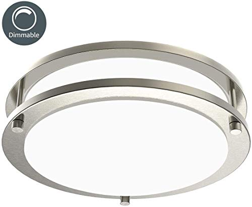 LE LED Flush Mount Ceiling Lights, 10.5 inch Brushed Nickel Ceiling Light Fixture Dimmable, 1200lm 16W (120W Equivalent) Ceiling Lamp for Kitchen, Bedroom, Laundry, Living Room Hallway, 4000K White