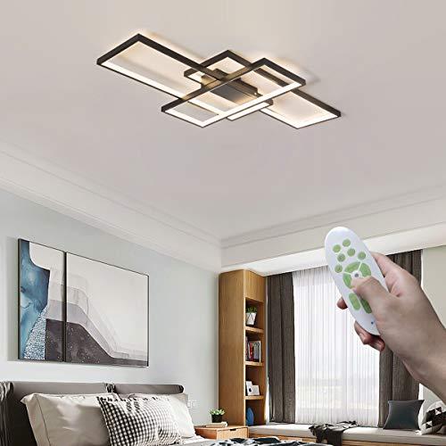 LED Deckenleuchte Dimmbar mit Fernbedienung Wohnzimmerlampe, Modern 3-Ring Design Rechteckige Deckenlampe Deckenbeleuchtung Metall Acryl Lampenschirm 95W für Esszimmer Büro Decken Lampe