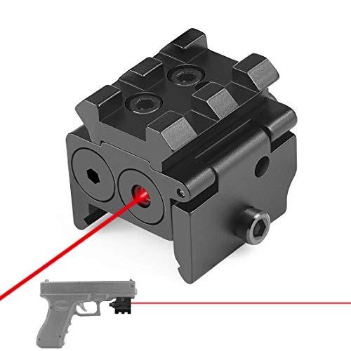 Ddartsgo Mirino Laser tattico Compatto a Punto Rosso Regolabile Mini con Supporto per Binario Picatinny da 20 mm per Accessorio Caccia Fucile ad Aria compressa
