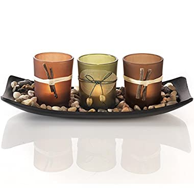 Natural Candlescape Set, 3 Decorative Candle Holders, Rocks and Tray