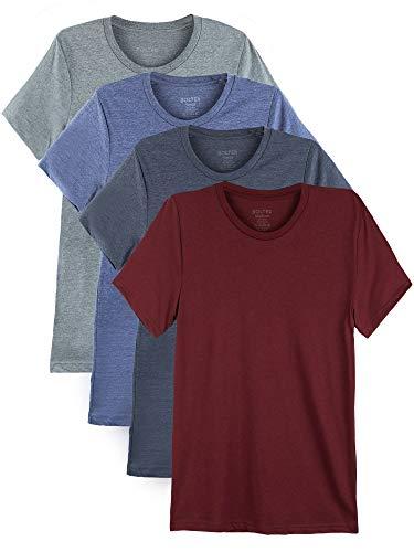 Bolter 4 Pack Men's Everyday Cotton Blend Short Sleeve T-Shirt (Medium, H.Car/H.Roy/H.Nvy/H.SLT)