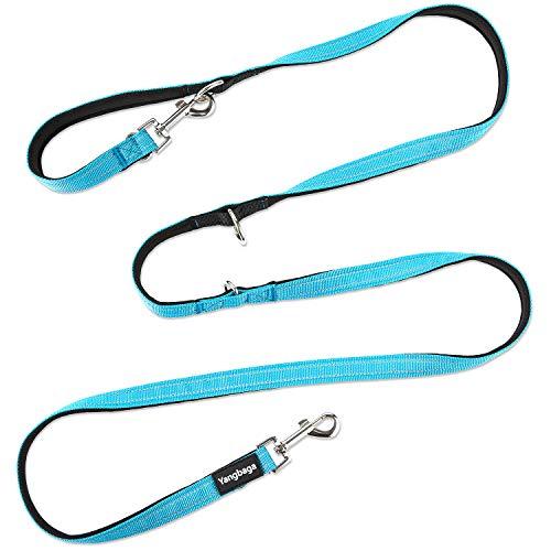 Yangbaga Correa para Perros Multiposición, Correa Perro adiestramiento Nylon Correa Doble, 4 Longitudes para Perro Pequeño Perro Mediano y Perro Grande 224cm Azul