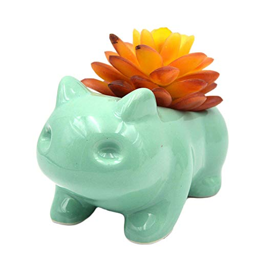 MONMOB Ceramic Bulbasaur Planter Pot Succulent Flowerpot Home Office Decorative DIY Painting Art...