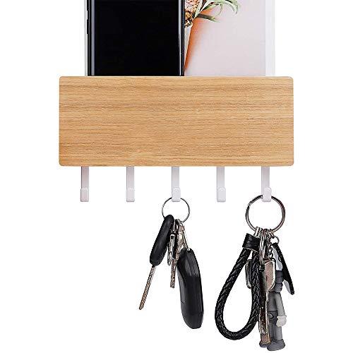 étagère Murale Range-courrier, accroche clé, Panier de Rangement - 5 Crochets - en Plastique et Bois