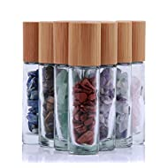 10ml Roll On Bottle For Essential Oils,10 Pack Clear Glass Roller Bottles With Natural Crystal Gemstone Roller Balls Top,Bamboo Lid,Thick Glass Essential Oil Bottles-Healing Crystal Chips Inside